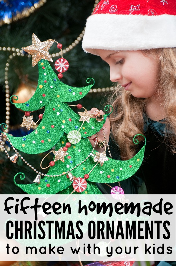 Whether you prefer to make your own Christmas decorations and ornaments, need Christmas gift ideas for your family and friends, or simply want boredom buster ideas to keep your kids busy this holiday season, this collection of 15 homemade Christmas ornaments to make with your kids is just what you need!