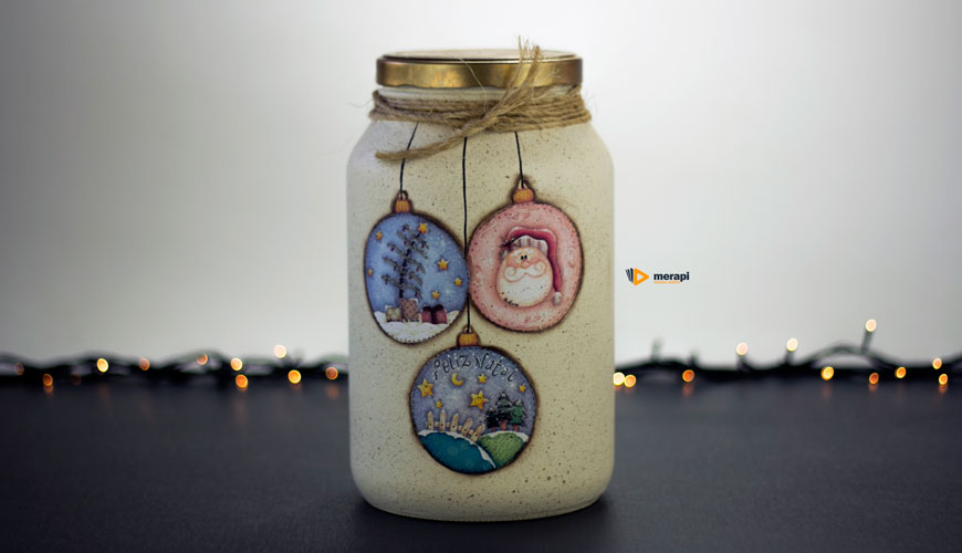 Pote de vidro para o Natal com decoupagem
