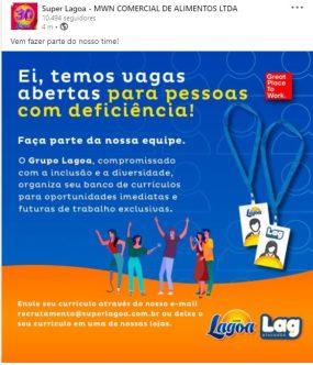 Reprodução de divulgação de vaga Supermercado Lagoa para PCD's