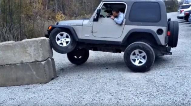 Tentou estacionar o seu novo Jeep em um bloco de cimento