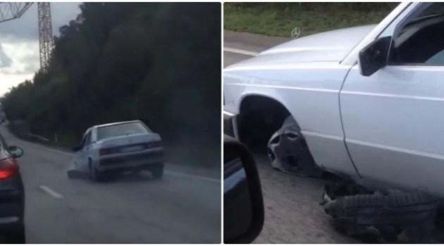 Mercedes 190 andando sem um pneu