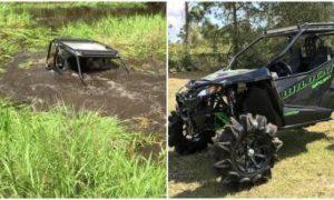Veja como este motorista manteve a calma mesmo que quase submerso na lama