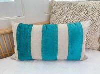 cute pier 1 tan teal lumbar throw pillow