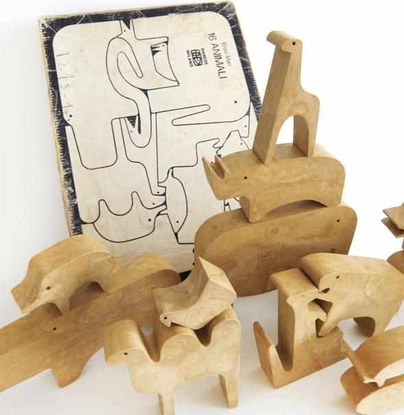 16 animali Enzo Mari puzzle legno