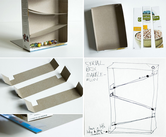 Cereal box marble run