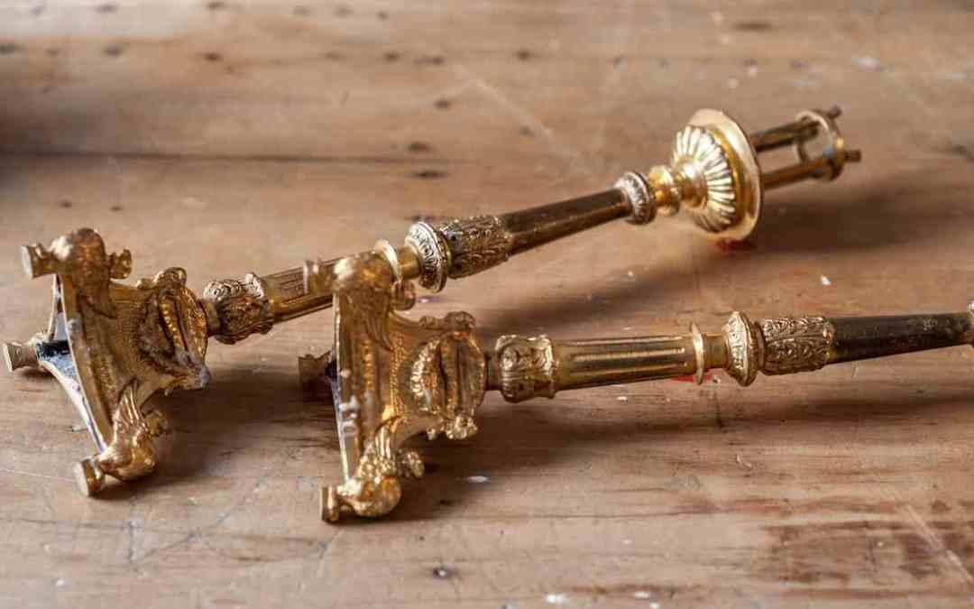 Candeleros Bronce Dorado. Carlos IV