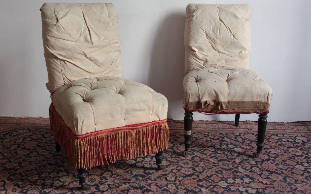 Pareja de sillas destapizadas, s. XIX