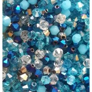 Perles toupies 4 mm nuance bleue