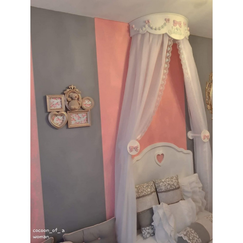 voilage pour ciel de lit blanc hauteur 240 cm