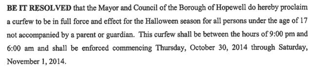 Hopewell Boro Curfew