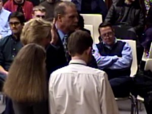 Lester being sworn in at Township Committee meeting last week