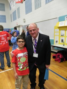 Mayor Paul Anzano and student Matthew Helmrich