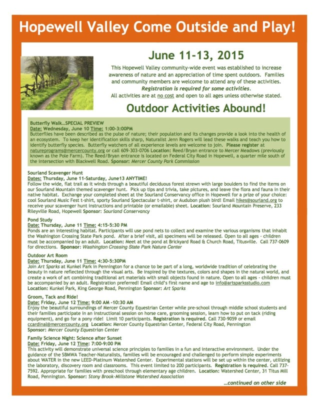 Come Outside and Play Activities 2015