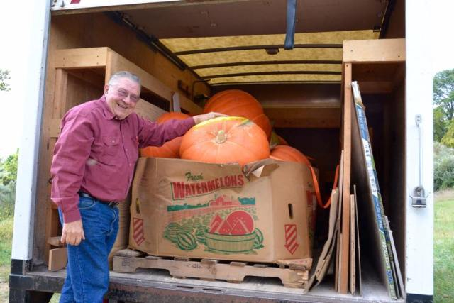Erwin Harbat of Harbat Farm who donated the pumpkins to the Arts Council