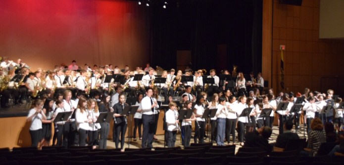 HoVal School Bands Play with Army Band Saluting Veterans