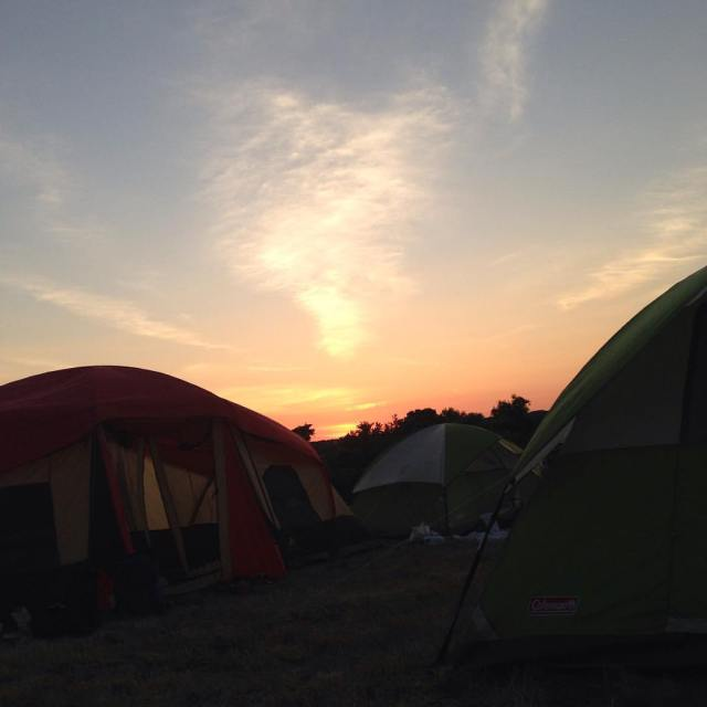 Sunset campout photo by MercerMe publisher Mary Galioto