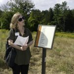 Lois Marie Harrod reading The Spineless at Poetry Trail Dedication by Carl Geisler