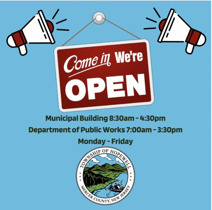 Hopewell Township municipal and public works offices now open to the public!