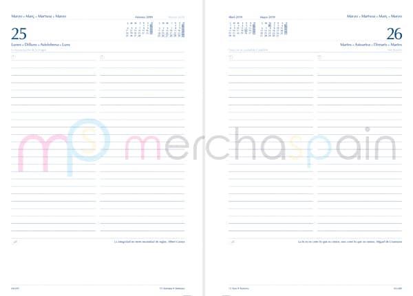 Agendas personalizadas con gráfica día página - Merchaspain