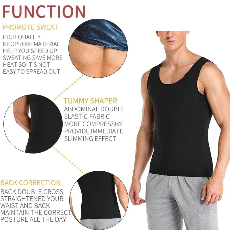Men Polymer Sweat Sauna Shaper Vest Body Shaper Waist Trainer Slimming Vest Compression Shapewear Corset Reductor de Abdomen US