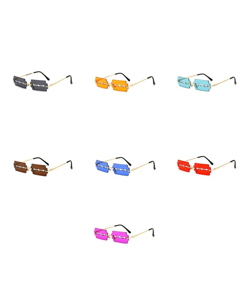 Trendy Rimless Sunglasses Women 2020 Vintage Unique Hollow Steampunk Sunglasses Men Frameless Punk Glasses Shades UV400 Glasses