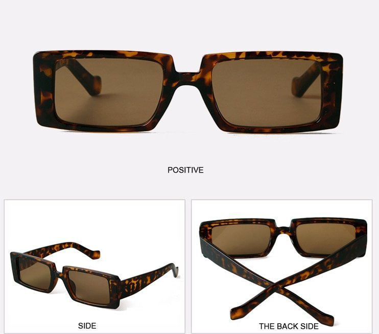 Story vintage green rectangle sunglasses women men brand designer fashion Leopard square sun glasses gafas de sol mujer S77134H