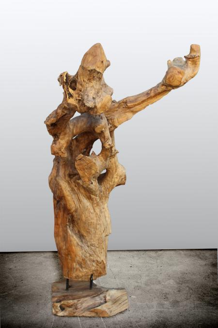 sculpture racine en teck