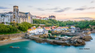 Sunset view of church Sainte-Eugenie in Biarritz, France