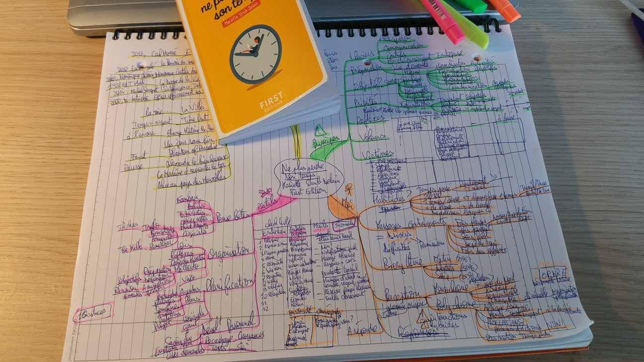 Map du livre très intéressant « Ne plus perdre son temps » de Mariette STRUB-DELAIN (159 pages)