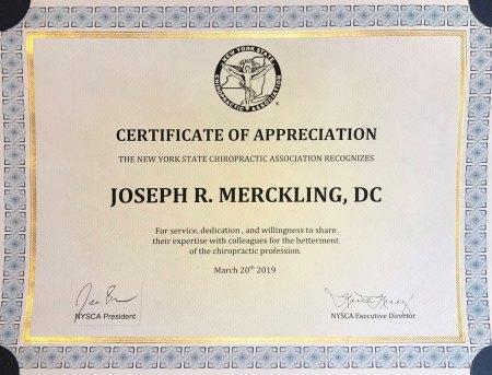 NYSCA certificate of appreciation
