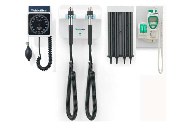 Welch Allyn Green Series 777 Wall Diagnostic System including Wall Aneroid Sphygmomanometer, SureTemp Plus 690 Electronic Thermometer, KleenSpec Disposable Specula Dispenser
