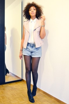 mercredie-blog-mode-beaute-suisse-geneve-bottines-hm-2013-short-levis-501-chemise-blanche-newlook-look-cheveux-afro-gilet-cuir-blouson-sans-manches-maje-rose-zip-20132