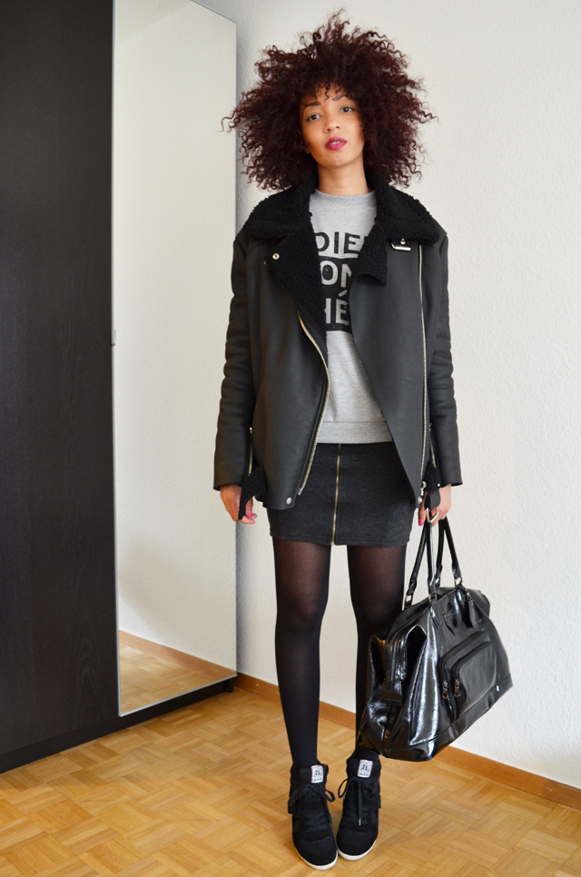 mercredie-blog-mode-geneve-suisse-sweat-asos-adieu-mon-cheri-mini-jupe-jennyfer-ash-bowie-black-afro-purple-hair-nappy-cheveux-frises-syoss-stylenanda-jacket-sac-legende-longchamp-xl-kate-moss