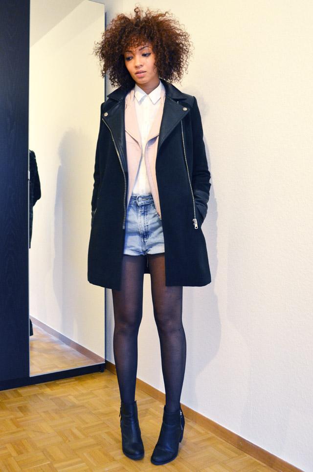 mercredie-blog-mode-beaute-suisse-geneve-bottines-h&m-2013-short-levis-501-chemise-blanche-newlook-look-cheveux-afro-gilet-cuir-blouson-sans-manches-maje-rose-zip-2013-manteau-sandro-like-ersatz-zara-bi-matiere-cuir-c&a2