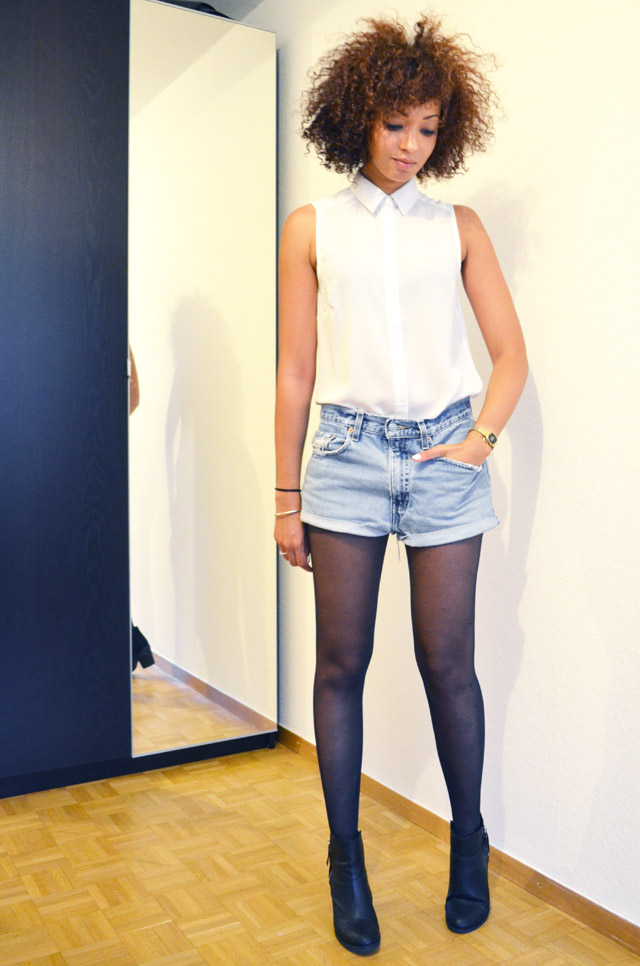 mercredie-blog-mode-beaute-suisse-geneve-bottines-h&m-2013-short-levis-501-chemise-blanche-newlook-look-cheveux-afro