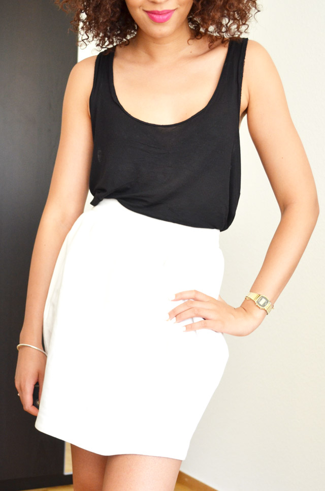 mercredie-blog-mode-geneve-suisse-jupe-blanche-asos-boule-debardeur-top-tanktop-black-outfit-summer-look