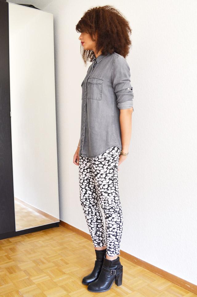 mercredie-blog-mode-grey-shirt-chemise-grise-denim-h&m-jules-heeled-allsaints-biker-boots-afro-nappy-hair-weave-curl-curls