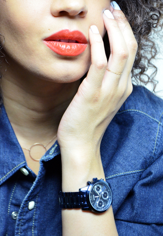 mercredie-blog-mode-guess-instant-bleu-montre-W0448L5-denim-total-look-lee-red-lipstick