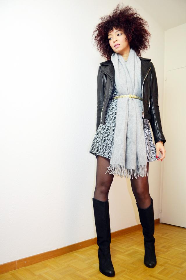 mercredie-blog-mode-bottes-h&m-vintage-robe-clo&se-monshowroom-grosse-echarpe-oversized-grise-balenciaga-biker-leather-jacket-perfecto