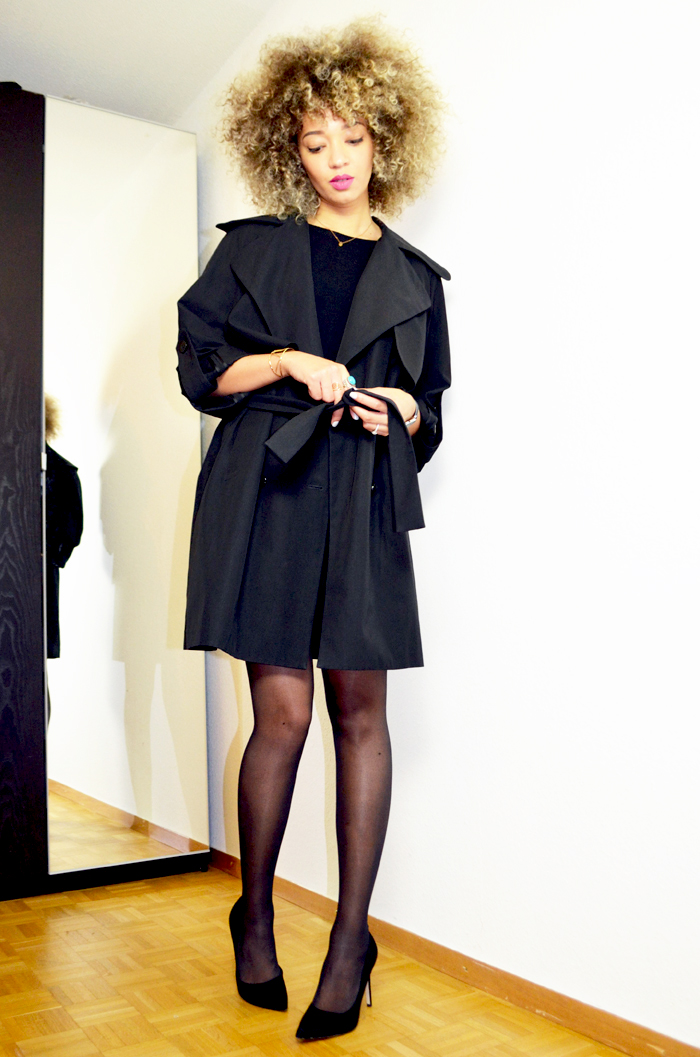 mercredie-blog-mode-beaute-geneve-trench-coat-carven-paris-black-ysl-lipstick-rose-perfecto-curly-natural-afro-blonde-bleached-hair-christophe-robin-baby-blond-masque-correcteur-escarpins-asos2