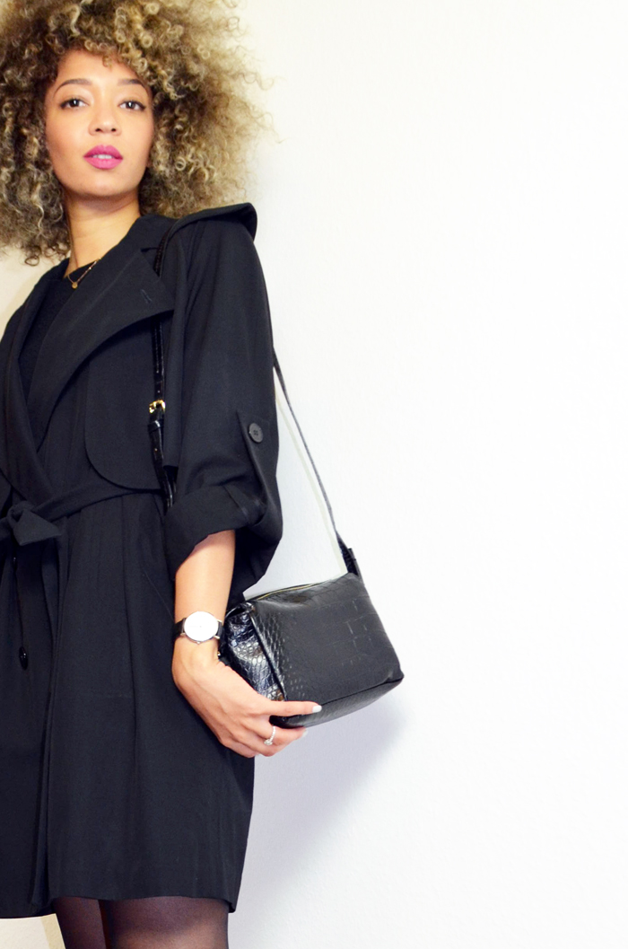 mercredie-blog-mode-beaute-geneve-trench-coat-carven-paris-black-ysl-lipstick-rose-perfecto-curly-natural-afro-blonde-bleached-hair-christophe-robin-baby-blond-masque-correcteur--sac-zara-crocodile2