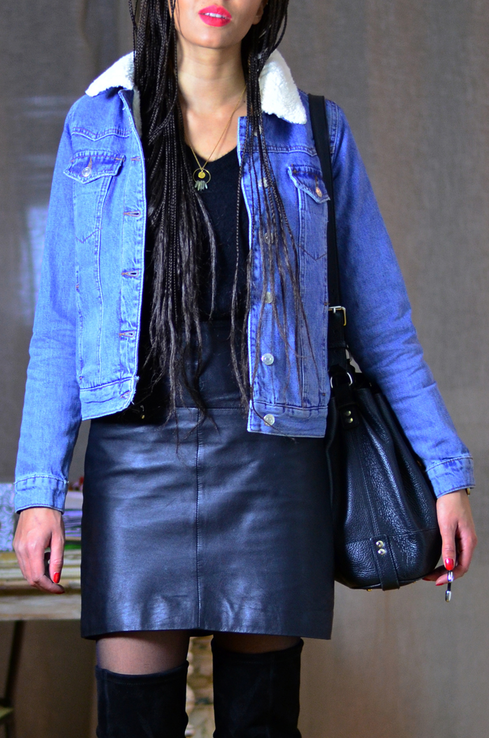 mercredie-blog-mode-geneve-suisse-veste-denim-jean-blouson-jacket-kookai-topshop-mouton-cuissardes-over-the-knee-boots-adenorah-jona