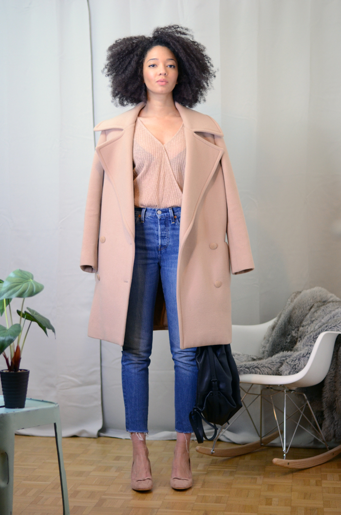mercredie-blog-mode-zara-promod-ballerines-talons-nude-levis-wedgie-fit-jeans-cache-coeur-coat-oversized-beige-nude-manteau-stella-mccartney-izzy-backpack-bag-opening-ceremony-leather