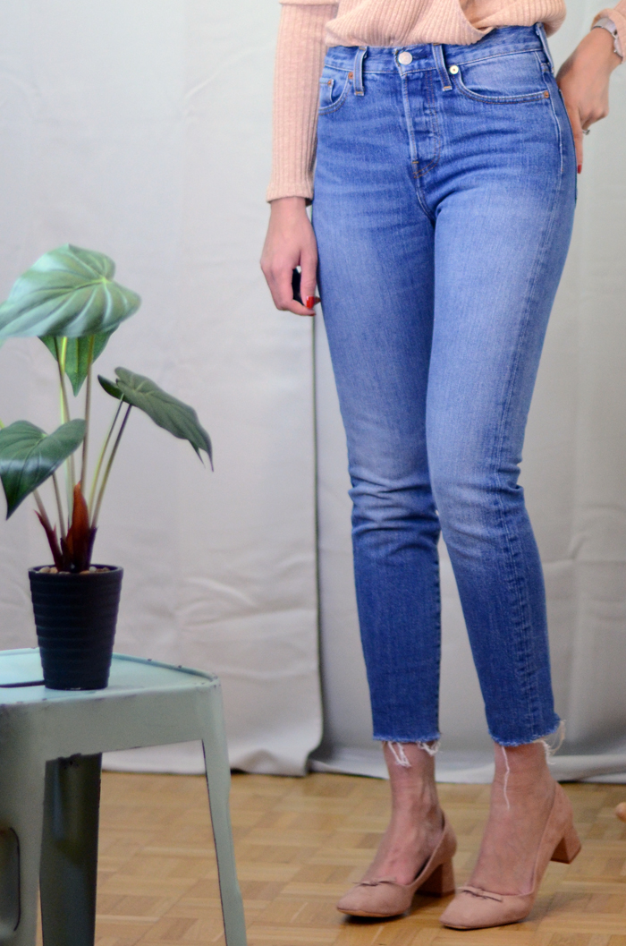 mercredie-blog-mode-zara-promod-ballerines-talons-nude-levis-wedgie-fit-jeans-cache-coeur