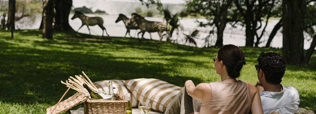 River side picnic with zebras at Anantara Royal Livingstone Hotel, Zambia