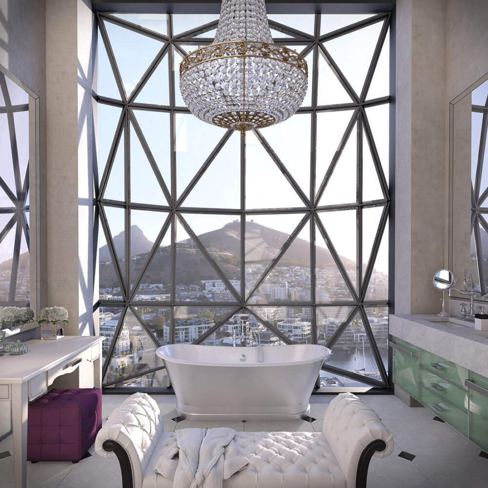 View from the bathroom, The Silo Hotel, Cape Town