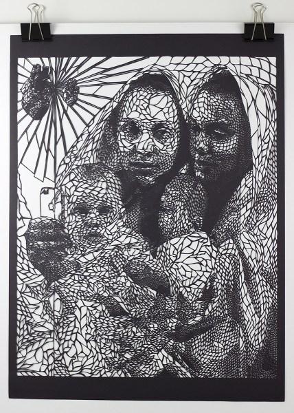 "Black Madonna Of Selfies (2014), hand cut paper, 18"" x 24"""