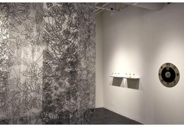 FOLDING GARDENS,  2017,  digital prints on silk organza, rods and threads, 10'x10'x7' After Herbal of al-Ghafiqi,Botanical Manuscript, 12th c., Andalusia Kala Art Institute