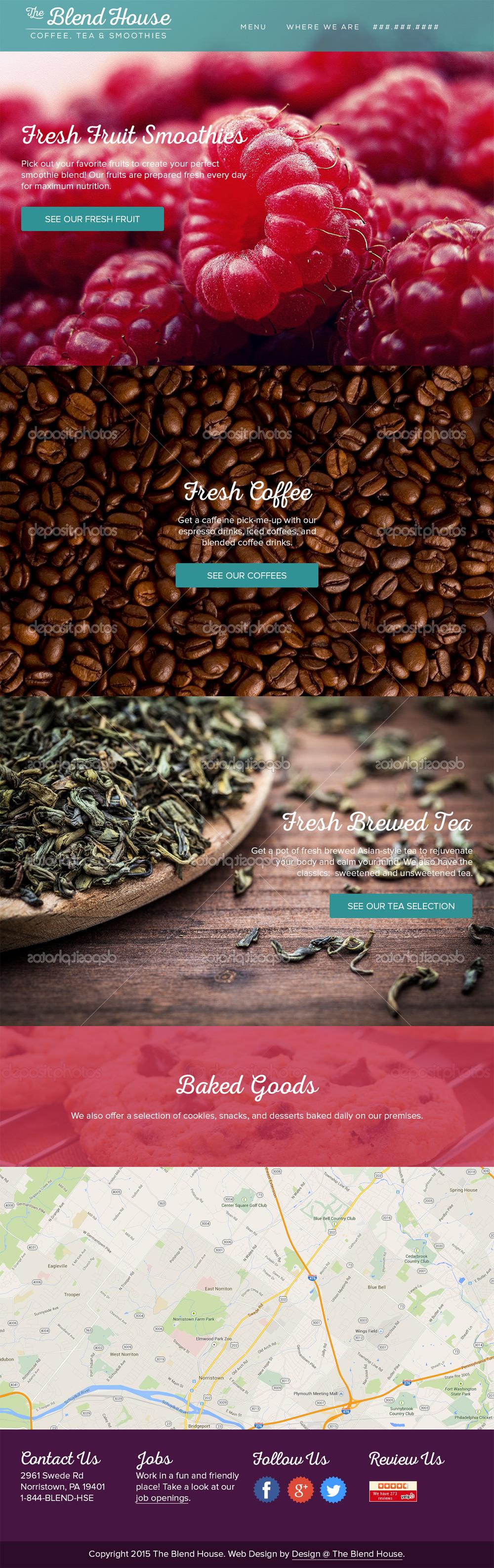 Smoothie Cafe Web Design Mockup