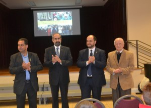 L to R: Mr. John Shirajian, Rev. Serop Megerditchian, Mr. Arayik Harutyunyan and Dr. Vahe Nalbandian, Chairman of the Merdinian School Board